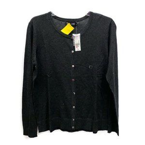 New York & Company Charcoal Knit Cardigan